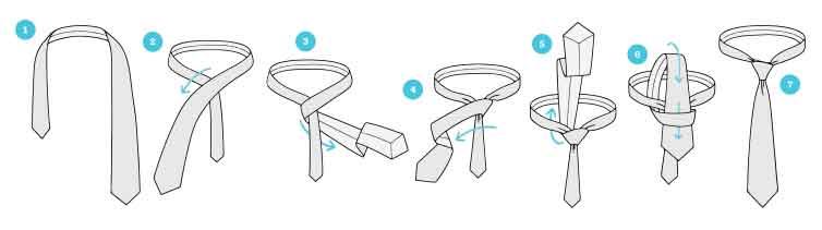 nudo corbata cuatro en mano